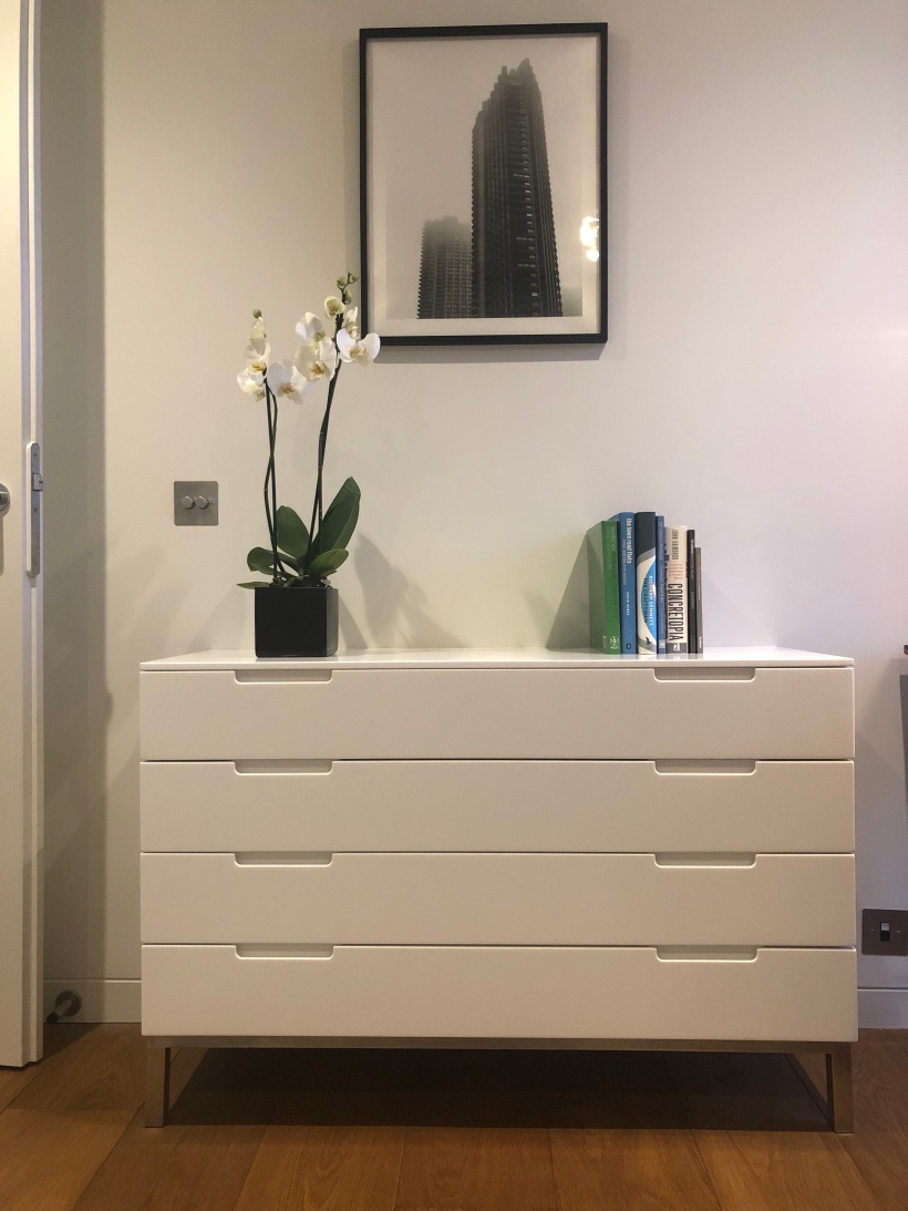 white drawer unit front on